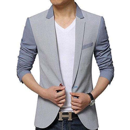 MRSMR Hommes Coton Duvet Veston Costume Un Bouton Rayures Motif Blazer Vestes pour Homme Gris