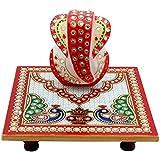 Rumali Creation Meenakari Work Lord Ganesh Marble Pooja Chowki