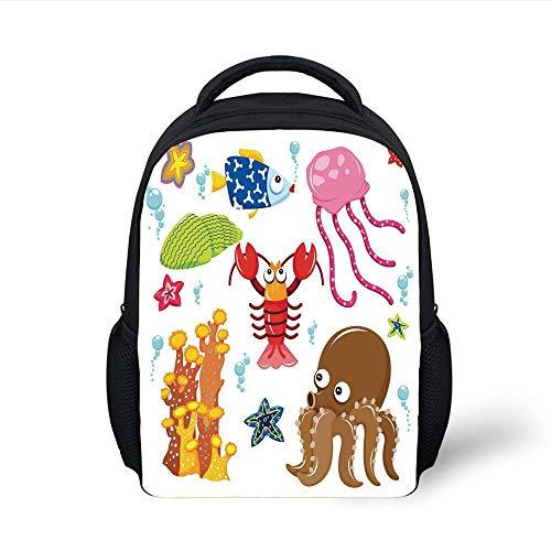 Kids School Backpack Toddler,Under The Sea Wildlife Theme Funny Creatures in Cartoon Style Fun Ocean Aquarium,Multicolor Plain Bookbag Travel Daypack -