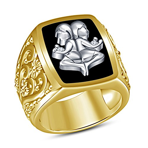 Vorra Fashion argento 925placcato oro 14K smalto nero Astrologia Gemini Zodiac Mens anello, Argento, 19, colore: giallo, cod. VSR0188_4