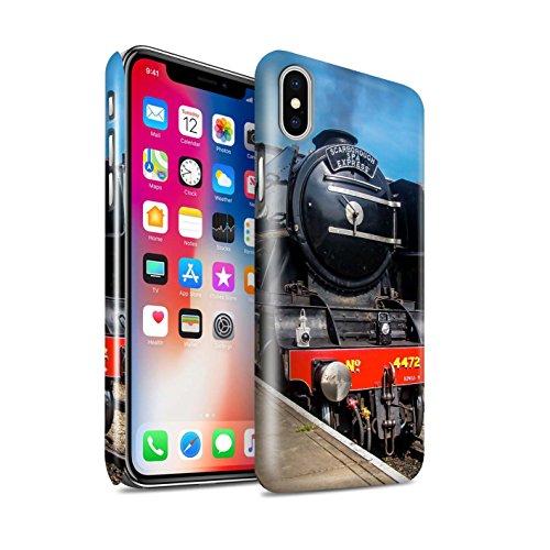STUFF4 Glanz Snap-On Hülle / Case für Apple iPhone X/10 / Dominion NZ/Blau Muster / Dampflokomotive Kollektion Scotsman/Bahnsteig