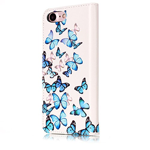 Coque pour iPhone 7, Etui Housse pour iPhone 7, Sunroyal Portefeuille Magnétique Case Protection en Simili-cuir Bumper Motif Belle Fleur Back Cover Porte-cartes Premium Rabat Folio Skin Shell avec Sup Pattern 48