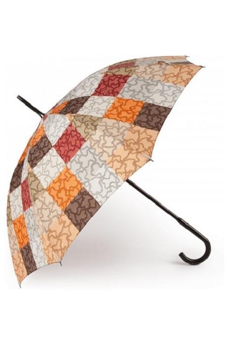 Paraguas Tous grande Kaos Cuadrados en color naranja-marrón: Amazon.es: Equipaje