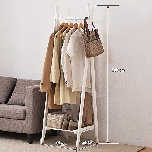 Kiefer Ecke Rack (YJ European Style Floor Standing Coat Rack Baum Massiv Holz Holz 160cm Double Rod Typ Movable Hanger ( Farbe : Weiß ))