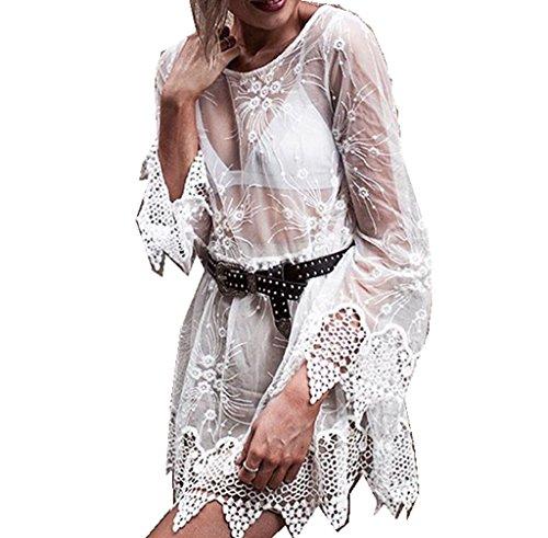 ASSKDAN Sexy Femme Mini Robe de Plage Broderie Detelle Mi-transparent Manche Longue Cache-maillot Sarong Blanc