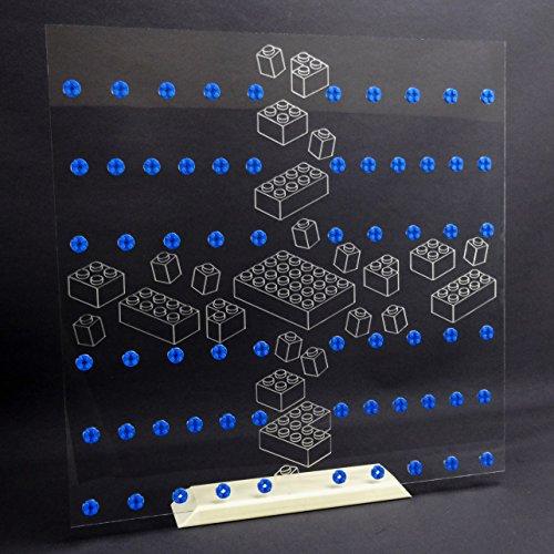 Preisvergleich Produktbild Einleger Steine 50 x 50 Ribba Rahmen Vitrine für LEGO® Serien Platz für 4x 16 Figuren blaue Steine