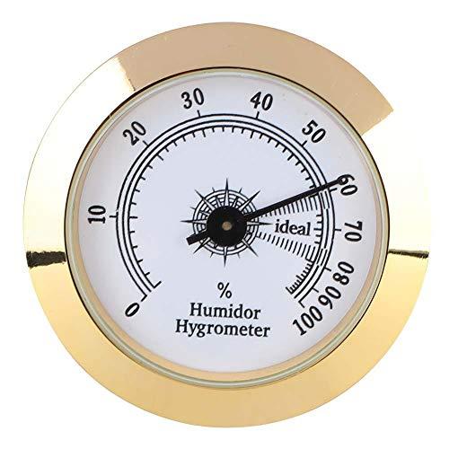 ViaGasaFamido Zigarre Tabak Hygrometer Präzise Metall Runde Analog Hygrometer für Zigarren Humidor Schränke 50mm Durchmesser (Gold)