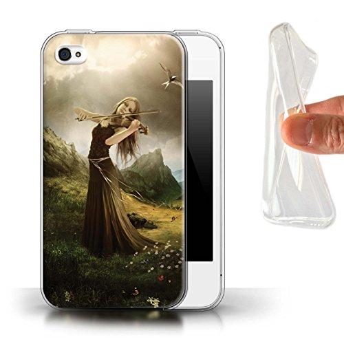 Officiel Elena Dudina Coque / Etui Gel TPU pour Apple iPhone 4/4S / Harpe/Harpiste Design / Réconfort Musique Collection Chanson de Fleurs