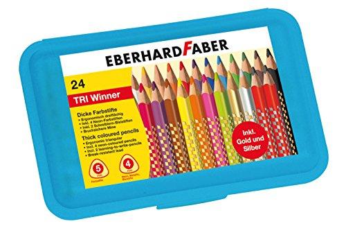 Eberhard Faber 518424 - Buntstift TRI Winner, 24 Stück in Kunststoffbox