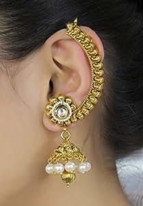 Indian Bollywood Style Bridal Partywear Ear Cuff Polki Earring Fashion Jewelry