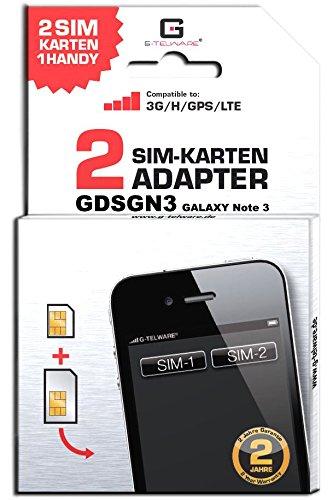 G-TELWARE GDSGN3/ 2 Jahre Garantie!/ Mehrsprachig/Zifferncodefähig/Dual SIM DualSIM Adapter Karte Card Samsung Galaxy Note 3, Note III, GT-N9005 UMTS/3G/HSDPA/GPS