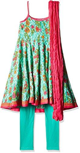 Biba Girls' Salwar Suit (KW1818_Turquoise and Pink_9)