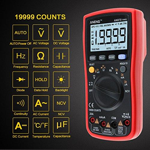 Multímetro, 4EVERHOPE AN870 multímetro digital True RMS 19999 cuenta medidor de autonomía para corriente alterna / corriente alterna, capacitancia, prueba de ciclo de servicio con pantalla LCD