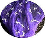 Feste Feiern Halloween Deko I 63 Teile Spinnennetz Leuchtende Spinnen Spinnweben Neon Violett Happy Horror Grusel Party