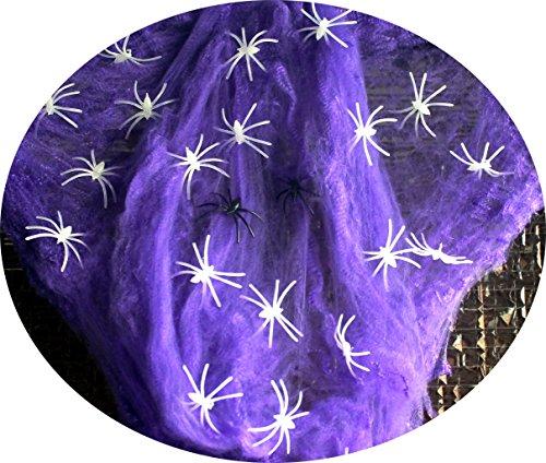 en Deko I 63 Teile Spinnennetz Leuchtende Spinnen Spinnweben Neon Violett Happy Horror Grusel Party (Neon Zombie Kind Kostüme)