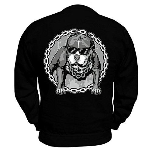 Männer und Herren Pullover American Bully COOL SUMMER (mit Rückendruck) Schwarz