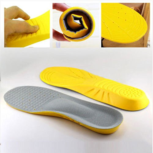 humefor ein Paar Sport Schuh Einlagen faltbar Dämpfung Basketball Thick Sweat Absorbing flach gelb M Gelb