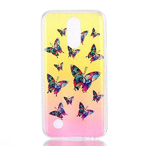 Coque LG K10 2017 Glitter, LG K10 2017 Coque Brillante, SainCat Ultra Slim TPU Silicone Case pour LG K10 2017, Glitter Bling Diamante Strass Anti-Scratch Soft Gel 3D Housse Transparent Silicone Case A Papillon Coloré