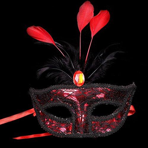 ade Maske Prinzessin Maske Weiblich Spitze Karneval Venezianische Maske Damenmaske Halbmaske Rot (Rote Halbmaske Mit Federn)