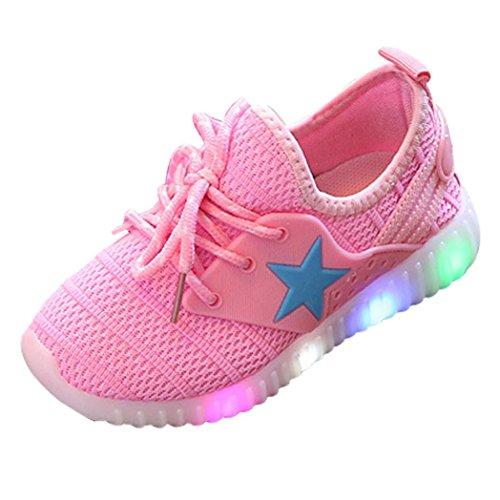 QinMM Kleinkind Baby Mode Turnschuhe Sterne Leucht Kind Casual Bunte Licht Schuhe Mesh Sommer Sportschuhe Schwarz Blau Rosa 21-35 (21, Rosa)
