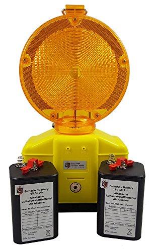 UvV® - LED Baustellenleuchte Blink- und Dauerlicht Warnleuchte inkl. 2 Luft-Sauerstoff Batterien (50 Ah) +Lampenschlüssel +Schranken-Halter (gelb) -