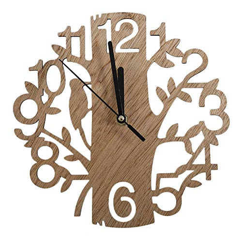 Eastery Modern Chic Vintage Design Stille Digital Woodpecker Holz Wanduhr Home Einfacher Stil Wohnzimmer Kaffee Shop Dekoration (Color : Colour, Size : Size)