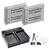 2-Pack NB-6L NB-6LH High-Capacity Replacement Battery with Rapid Dual Charger for Select Canon Cameras - UltraPro Bundle Includes: Camera Cleaning Kit Camera Screen Protector Mini Travel Tripod