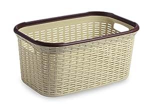 All Time Plastics Rattan Plastic Open Storage Bin - 50.5 cm x 33.5 cm x 24.5 cm, Beige