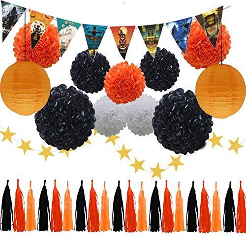 Feier Dekoration Flagge Bommel Aus Papier Party Dekoration Set Papier Laterne Quaste Kranz Dreieck Banner Charm 33PCS ()