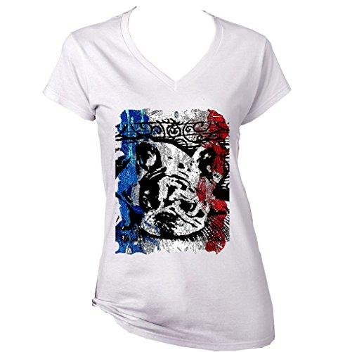 Teesquare1st Women's FRENCH BULLDOG FRENCH FLAG 13 White T-Shirt Size XXLarge