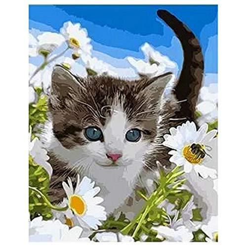 WZXHN DIY Ölgemälde nach Zahlen Kits Wildflower Katze Tier DIY Digitales Malen nach Zahlen Moderne Wandkunst Leinwand Malerei Einzigartiges Geschenk Wohnkultur-Without Frame -