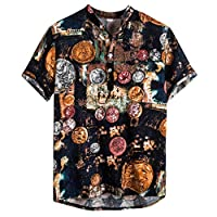 ♛2019 Clearance Sale♛ - Chamery Summer Shirt for MenMens Ethnic Short Sleeve Casual Cotton Linen Printing Hawaiian Shirt Blouse(Navy,L)