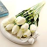 NiceButy - Fiori artificiali classici in seta, tulipani finti, per matrimonio, damigella d'onore, bouquet da sposa, decorazione per la casa, 10 pezzi, colore: bianco