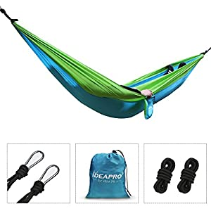 camping hammock, ideapro 210t parachute nylon portable 1-3 person outdoor garden heavy duty hammock tent travel beach camping sleeping swing bed