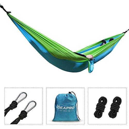 camping hammock, ideapro 210t parachute nylon portable 1-3 person outdoor garden heavy duty hammock tent travel beach camping sleeping swing bed