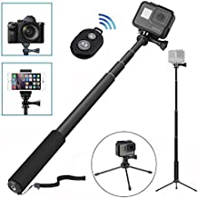 Wineecy Palo Selfie Stick Con Trípode Y Bluetooth Remote Control Para Gopro Hero 5/4/3+/3/2/1/Session,xiaomi yi 4k, iPhone, Samsung y Otros Teléfonos Inteligentes(8-in-1 kit) (Selfie Stick)