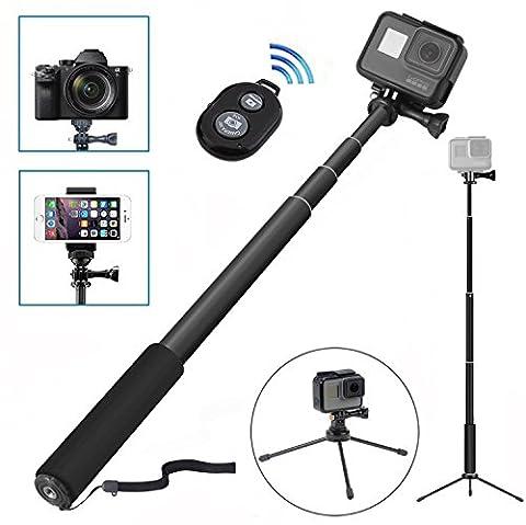 [8 en 1] Perche Selfie, Wineecy Selfie stick sans fil Bluetooth avec trépied Pour Caméra Gopro Hero 5/4/3+/3/2/1/Session, Xiaomi Yi / Yi 4K / Yi 4K+ et iPhone 5/6/7 Plus/Samsung Android Smartphone