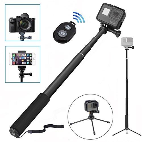 [8 in 1] Selfie Stick Set, Handy Stativ, Selfie Stick mit Stativ, Wineecy Bluetooth Selfie Stick mit Stativ Einbeinstativ für GoPro Hero 5/4/3+/3/2/ Session,xiaomi 4K Action Kamera, Kompaktkameras / Handys (Bluetooth-Auslöser für Smartphone nur) (Bluetooth Selfie Stick mit Stativ)