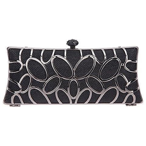 Bonjanvye Hnad Baguette Party Clutch Bag for Ladies Evening Party Black