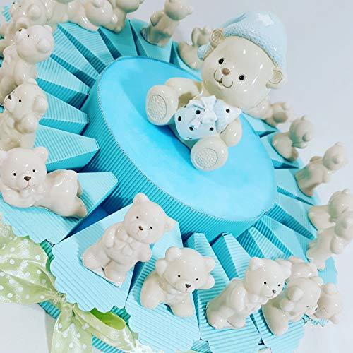 Torta bomboniere orsetto bimbo cuore bebè compleanno battesimo nascita (torta da 20 fette + confetti + centrale)