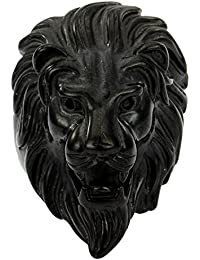 Trendsmax Mens Black Tone Engraved Carved Roaring Retro Lion King 316L Stainless Steel Ring