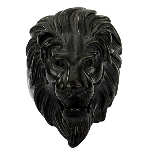 Trendsmax Herren Ring 316L Edelstahl Ringe Sshwarz Roaring Lion King Gravierte geschnitzt Retro Herren-lion-ringe Aus Edelstahl