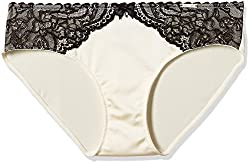 Amante Womens Lace Hipster Panty (PAN24601_Whitesmoke and Black_L)