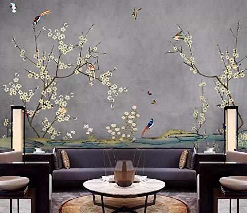 Carta Da Parati Adesiva Muro 3D Fiori E Uccelli Dipinti A Mano Stile Cinese Giardino Retro Fotomurali 3D Photo Wallpaper Moderna Murale