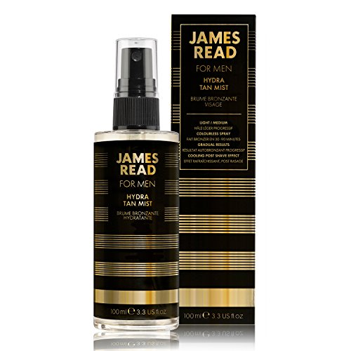 James read hydra tan mist viso for men 100 ml light/medium post-shave idratante e raffreddamento mist asciugatura veloce graduale autoabbronzante adatto per tutte le tonalità della pelle; colore dura fino a 5 giorni