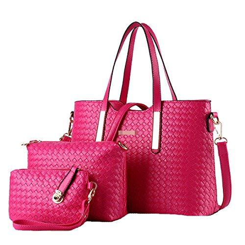 Le Donne Adattano A Sacco A Tracolla Della Traversa Del Sacchetto Della Borsa Della Borsa Di 3 Parti Della Borsa Multicolore Pink