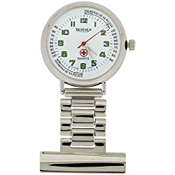 Bernex Unisex Swiss Movement Silvertone Nurses Fob Watch Branded Box GB31205