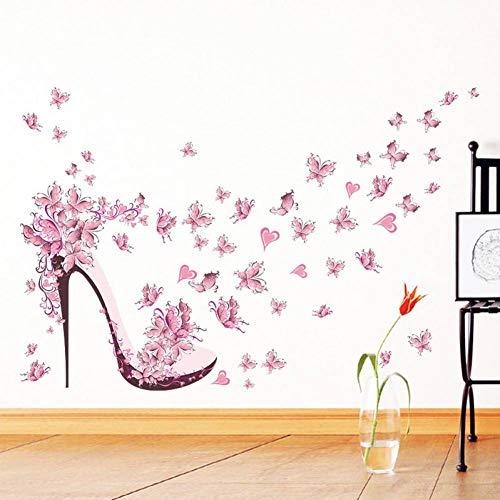 PISKLIU Adesivo da PareteScarpe con Tacco Alto Farfalle Volanti Cuore Adesivo murale Fiore Decalcomanie in PVC Decorazioni per la casa Decorazioni per la Stanza della Ragazza Poster