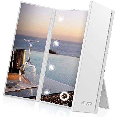 ACOCO Faltbarer LED Taschenspiegel Handspiegel Reisespiegel , Mini LED Beleuchteter Kosmetikspiegel Schminkspiegel, STUFENLOS DIMMBAR Toch Control Make-up Mirror/Spiegel, 8-LEDs, 3 Seite,2x CR2032 Batteriebetrieb(im Liferumfang enthalten )