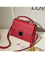 Mujer ronda Bloqueo Pequeño cuadrado Bolso bolsa de Hombro bolsa diagonal hembra paquete Rojo